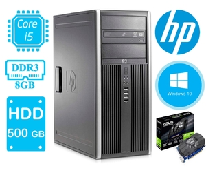 Игровой системный блок HP ELITE Compaq 8300 / i5-3470 (3.2 ГГц) / ОЗУ 8 / SSD120 + HDD500 GB, USB 3.0 / GeForce1030 2GB